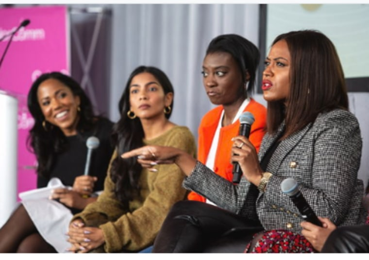 "From left to right: Lauren Wesley Wilson, Zara Rahim, Nikki Ogunnaike and Alencia Johnson on the ""Got what it takes?"" panel at the ColorComm Next Generation Summit in New York City on Nove. 15."