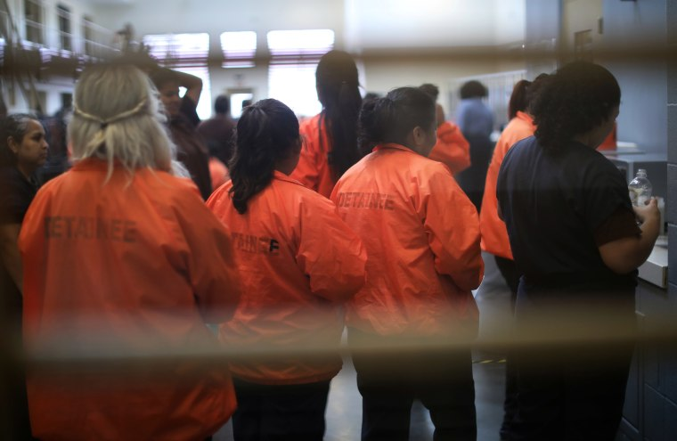 Detainees are seen at Otay Mesa immigration detention center in San Diego