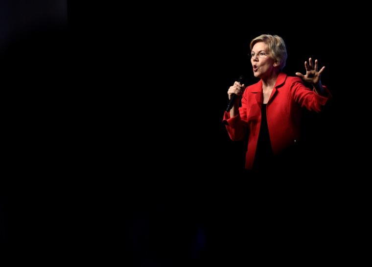 Image: Sen. Elizabeth Warren, D-MA, speaks at an event in Las Vegas on Nov. 17, 2019.