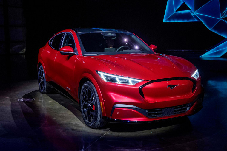 Image: Ford reveals the Mustang Mach-E, the brand's first mass-market electric car, in Hawthorne, Calif., on Nov. 17, 2019.