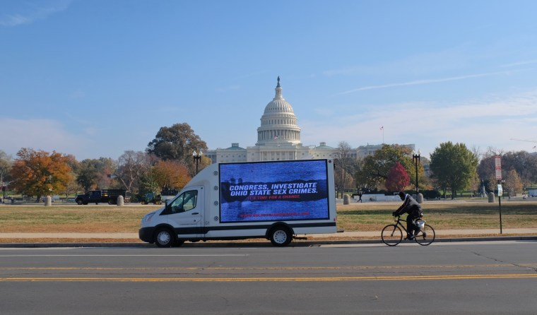 Mobile billboard brings Ohio State sex abuse scandal to Washington as impeachment hearing is underway