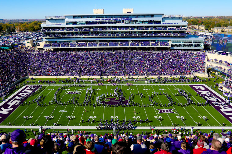 Image: The Kansas State Wildcats marching band during a game at the Bill Snyder Family Stadium in Manhattan on Oct. 26, 2019.