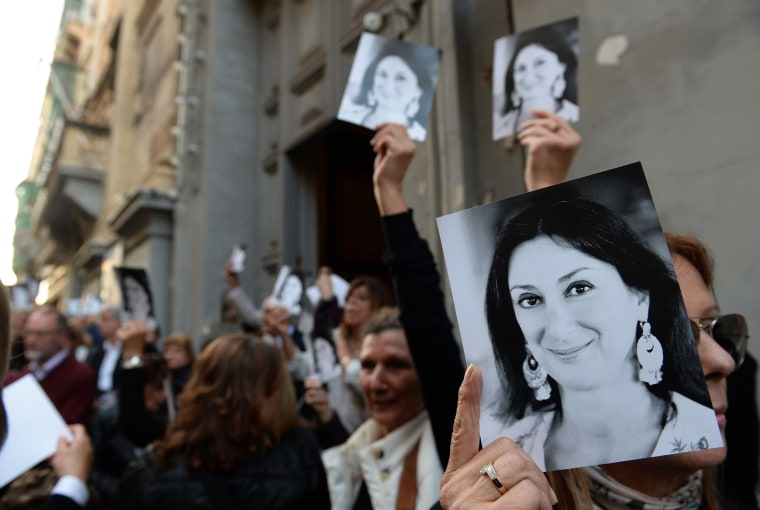 Image: People leave the church of St Francis, after the Archbishop of Malta celebrated mass in memory of murdered journalist Daphne Caruana Galizia on the sixth month anniversary of her death in Valletta, Malta