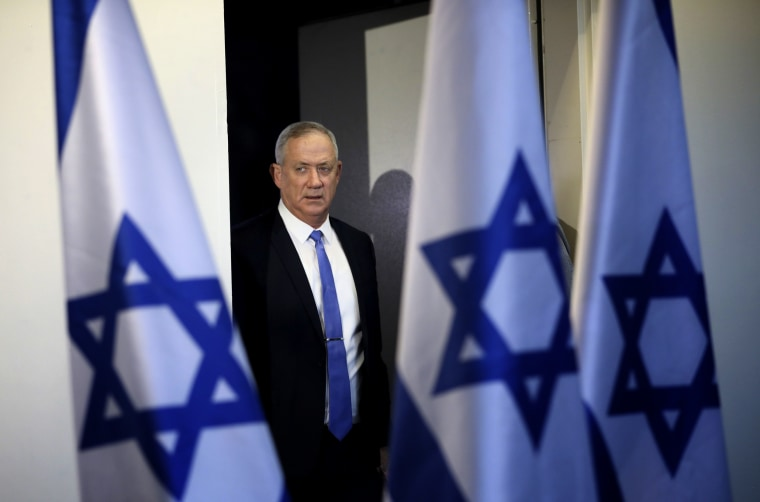 Image: Blue and White Party leader Benny Gantz arrives for a press conference in Tel Aviv on Nov. 20, 2019.