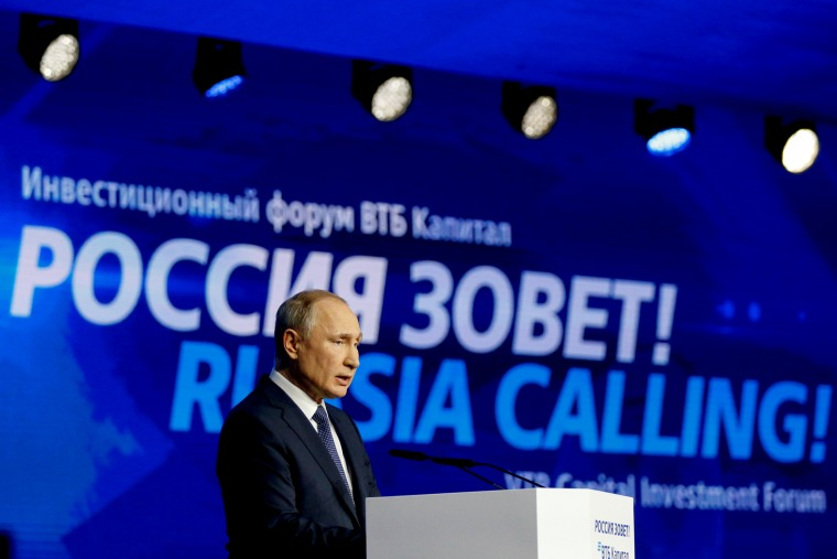 Image: Russian President Vladimir Putin speaks at a forum in Moscow on Nov. 20, 2019.