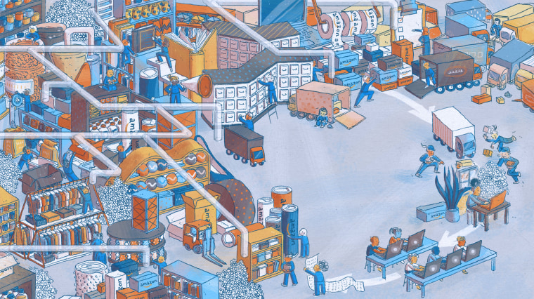 Illustration of a hectic scene of Amazon orders being made, processed, and delivered.