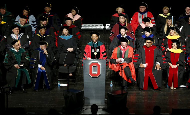 Ohio State President Michael V. Drake speaks during his investiture at Mershon Auditorium on March 31, 2015, in Columbus, Ohio.