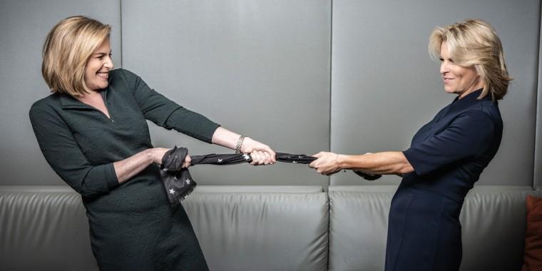 Republican strategist Susan Del Percio, left, and Democratic strategist Adrienne Elrod, right.
