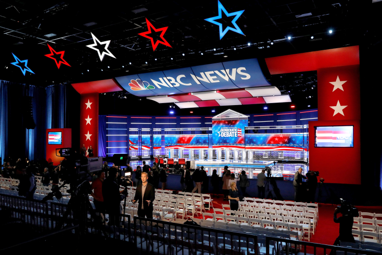 Image: The set and ten podiums for the U.S. Democratic presidential candidates debate are seen the day before the debate at the Tyler Perry Studios in Atlanta, Georgia