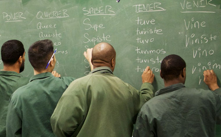 Bard Prison Initiative students conjugate Spanish verbs at Eastern New York Correctional Facility.