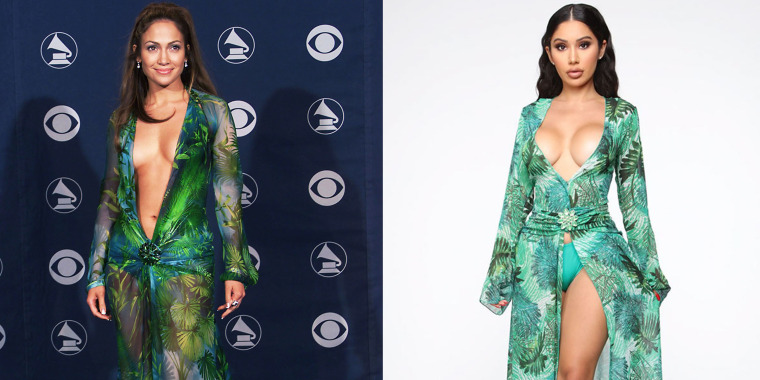 Jennifer Lopez walks the red carpet at the 2000 Grammys in a green Versace dress that would become a cultural touchstone for the next two decades (left). A model wears a similar green dress marketed by Fashion Nova that has become the subject of a lawsuit Versace filed in California (right).