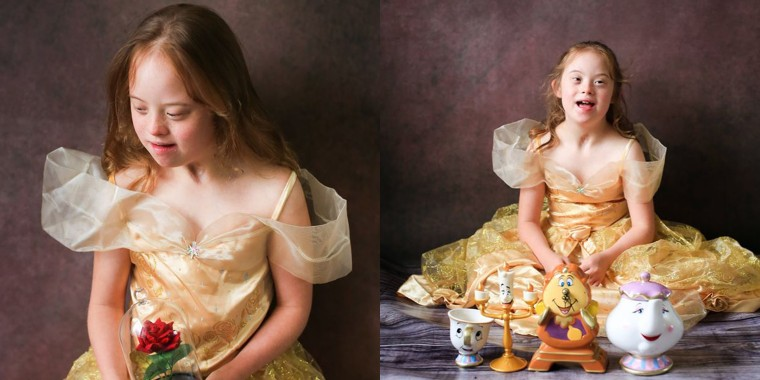 "Holly Allan, 10, poses as Belle from ""Beauty and the Beast."""