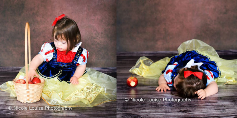 "Dorothy Mason, 2, pretends to fall asleep after eating a ""poison apple"" as Snow White."