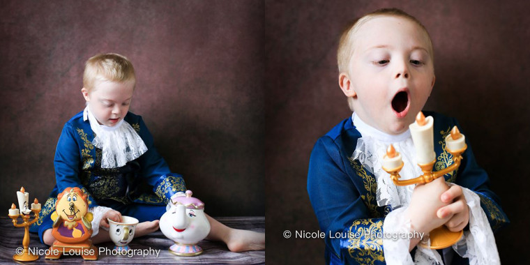 "Jensen Pointon, 6, plays the Beast from ""Beauty and the Beast"" -- after he's transformed into a prince, of course!"