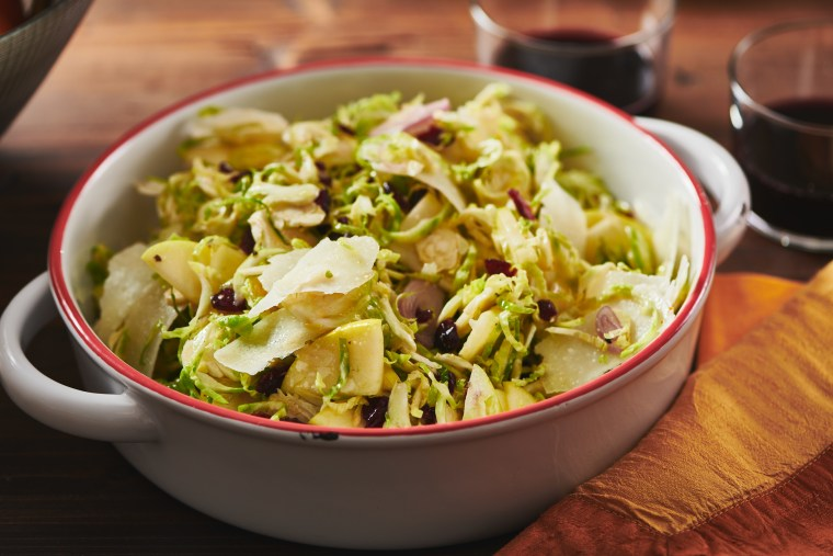 Brussels sprouts, apple and pecorino salad