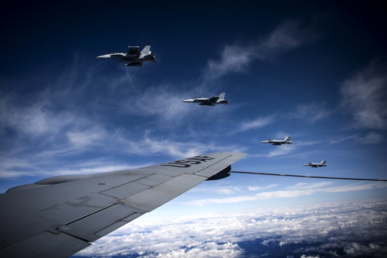 Image: A formation of EA-18G Growlers complete a refuel during Exercise Mobility Guardian in Washington on Sept. 24, 2019.