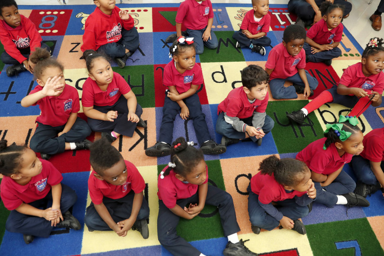 Students participate in a pre-kindergarten class at Alice M. Harte Charter School in New Orleans on Dec. 18, 2018.