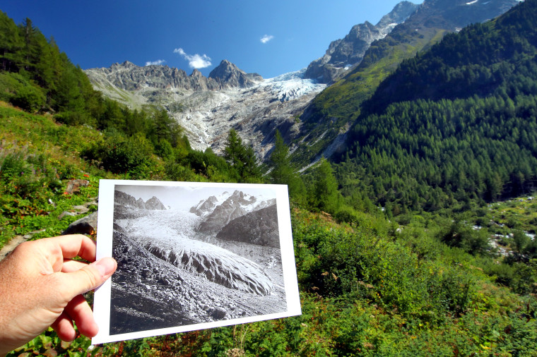 Image: Picture of the Trient Glacier taken in 1891 is seen displayed in the same location in 2019
