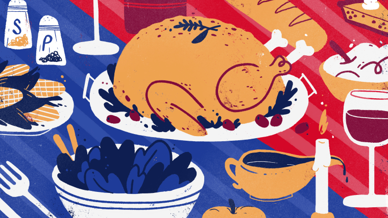 Illustration of a Thanksgiving table that is split in two sides, a red or blue tablecloth.