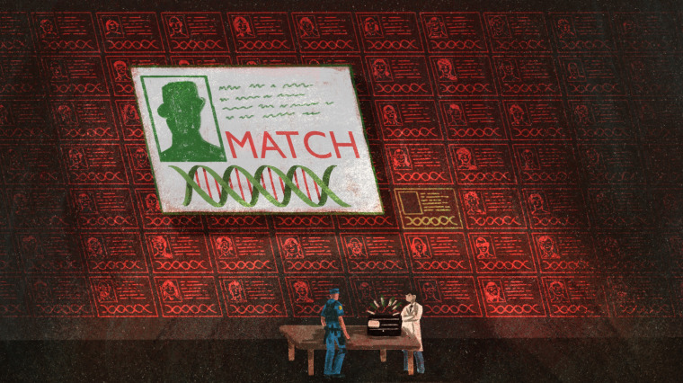 Illustration of a DNA match screen appearing on a wall of DNA info as a police officer and technician stand in front of a rapid DNA machine.