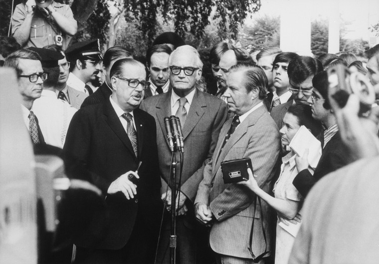 Senators Scott and Goldwater and Representative Rhodes hold an informal press conference following their Aug. 7 1974 meeting with President Nixon to discuss Watergate matters.