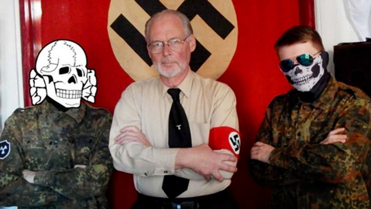 Image: James Mason and members of the Atomwaffen Division, a white supremacist group.