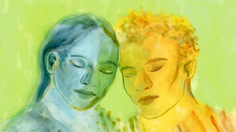 Illustration of two people resting their heads against each other.