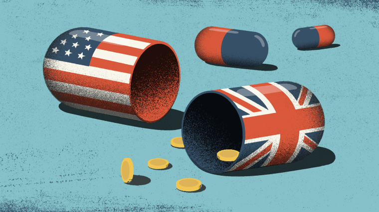 Illustration of a broken open pill, one side with an American flag and another side with the British flag. Coins fall out of the pills.