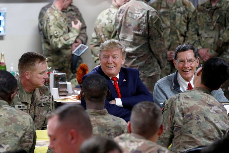 Image: U.S. President Donald Trump makes an unannounced visit to U.S. troops at Bagram Air Base in Afghanistan