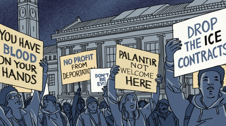 Illustration of students protesting Palantir on a college campus.