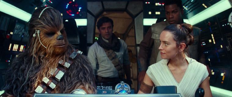 Image: Joonas Suotamo is Chewbacca, Oscar Isaac is Poe Dameron, Daisy Ridley is Rey and John Boyega is Finn in STAR WARS: THE RISE OF SKYWALKER
