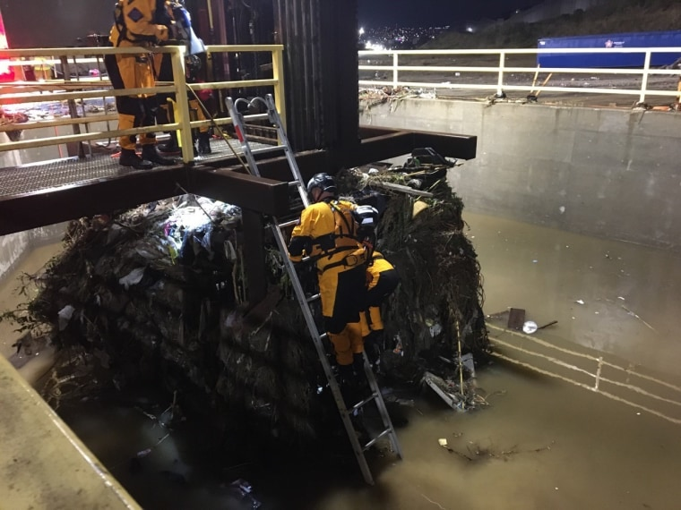 San Diego Fire and Rescue assist border patrol agents in rescuing 20 people from a drainage tube that is located near the San Ysidro Port of Entry.