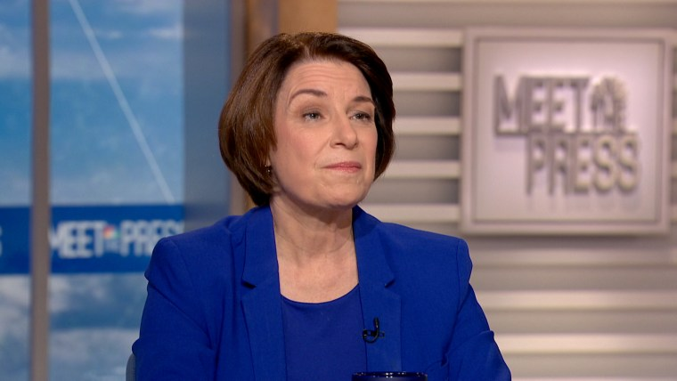 "Image: Sen. Amy Klobuchar appears on ""Meet The Press"" on Dec. 1, 2019."