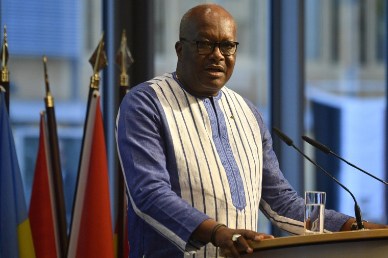 Burkina Faso President Roch Marc Christian Kabore, shown last month, confirmed Sunday that 14 people were killed in an attack on a church.