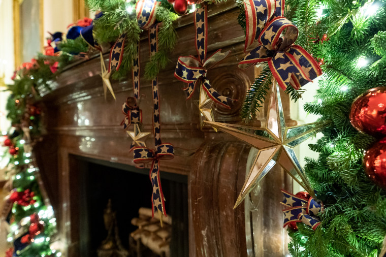 Star-spangled ornaments hang in the East Room of the White House.