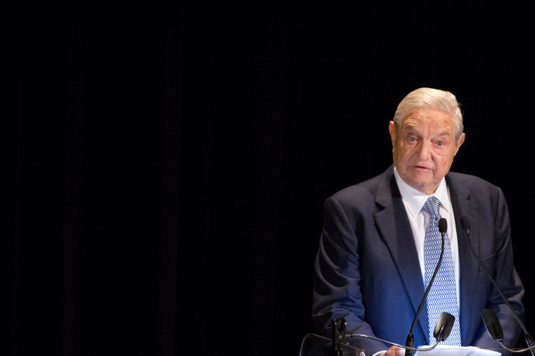 Image: FILE PHOTO: George Soros speaks on stage at the Annual Freedom Award Benefit Event hosted by the International Rescue Committee at the Waldorf-Astoria in New York