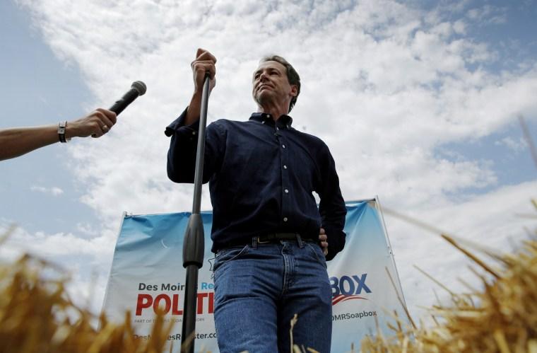 Image: Montana Gov. Steve Bullock speaks at the Iowa State Fair in Des Moines on Aug. 8, 2019.