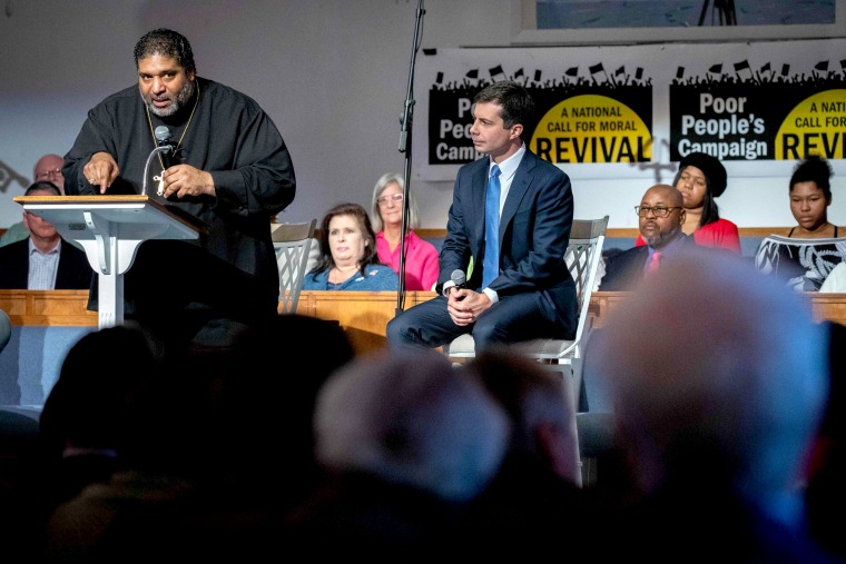 Image: Reverend William Barber introduces Pete Buttigieg during Sunday morning service at Greenleaf Christian Church in Goldsboro, N.C., on Dec. 1, 2019.