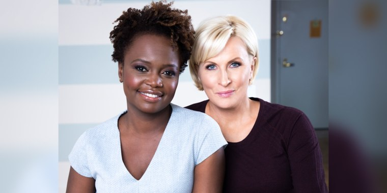 """Karine Jean-Pierre, an MSNBC political analyst and chief public affairs officer for MoveOn, and Mika Brzezinski, Know Your Value founder and """"Morning Joe"""" co-host."""