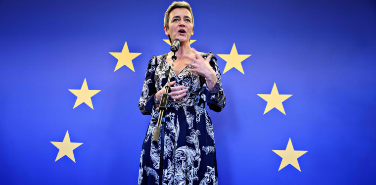 European Commissioner Margrethe Vestager speaks in Copenhagen on Nov.  29, 2019.