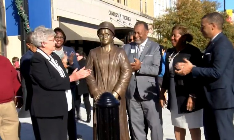 Image:  State and city leaders dedicated a statue today honoring Rosa Parks and Civil Rights foot soldiers in downtown Montgomery on Dec. 1, 2019.