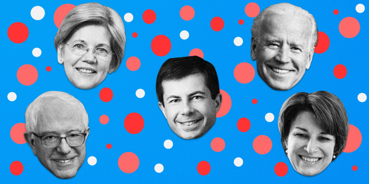 Image: Sen. Elizabeth Warren, Former Vice President Joe Biden, Sen. Bernie Sanders, Mayor Pete Buttigieg and Sen. Amy Klobuchar have all qualified for next month's Democratic debate in Los Angeles.