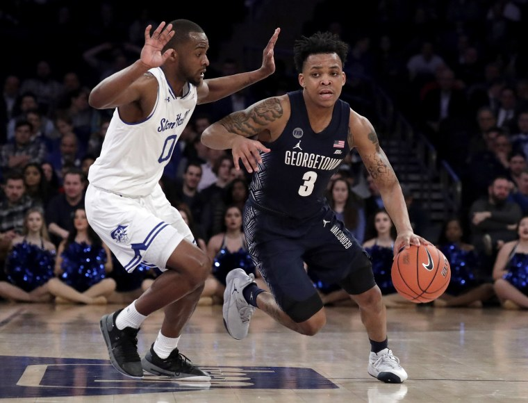 Georgetown guard James Akinjo (3) drives against Seton Hall in a Big East tournament game on March 14, 2019, in New York.