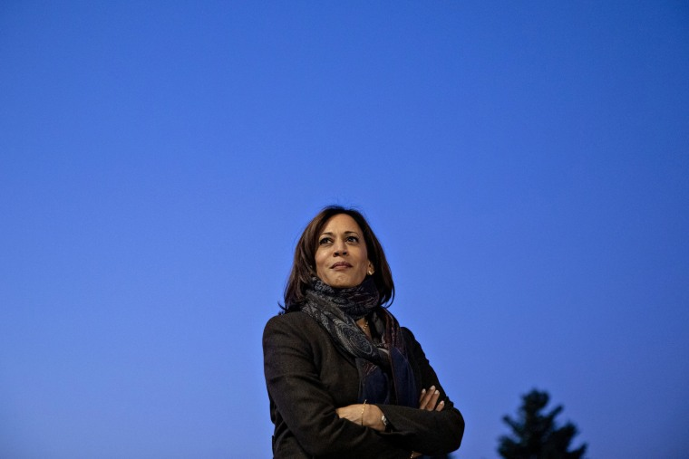 Image: Sen. Kamala Harris (D-Calif.), a Democratic candidate for president, during her introduction at a town hall event in Ankeny, Iowa on Monday, Oct. 7, 2019. (Daniel Acker/The New York Times)