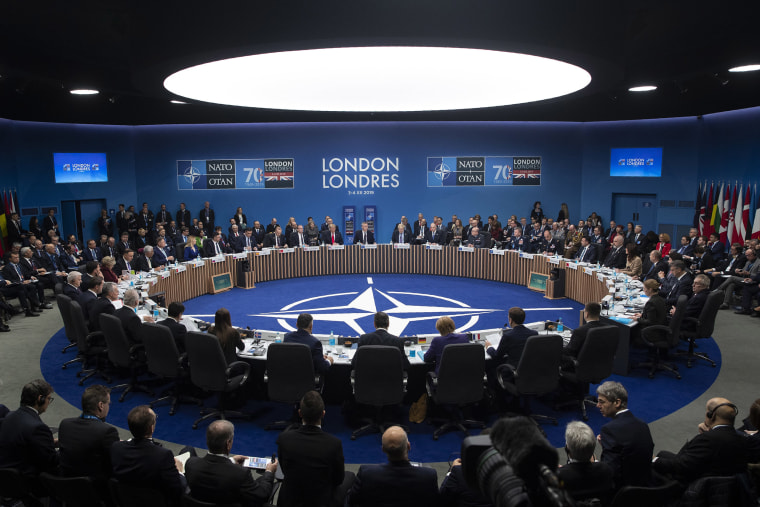 Image: NATO Secretary General Jens Stoltenberg makes an opening statement during a plenary session at the NATO Leaders Meeting at The Grove, Wednesday, Dec. 4, 2019, in Watford, England