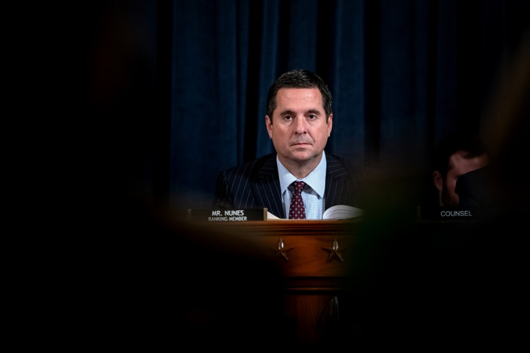 Image: Rep. Devin Nunes, R-CA, looks on during testimony at a House Intelligence Committee hearing on the impeachment inquiry into President Donald Trump on Nov. 20, 2019.