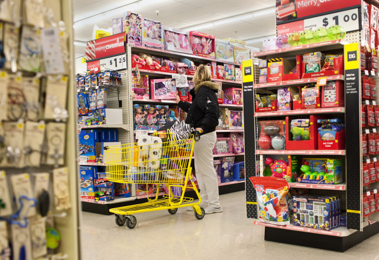 A woman shops for toys at a Dollar General Corp. store in Saddle Brook, N.J.