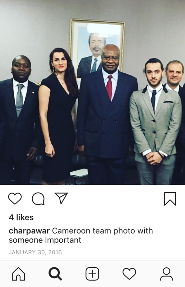 Charlotte Pawar poses with the Cameroonian prime minister in an Instagram post.
