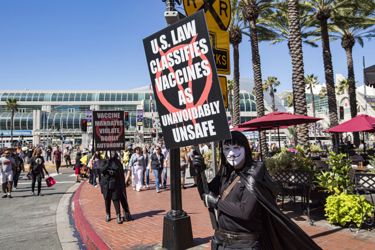 Image: Anti-vaccine protesters demonstrate outside 2019 Comic-Con International on July 20, 2019 in San Diego, California.