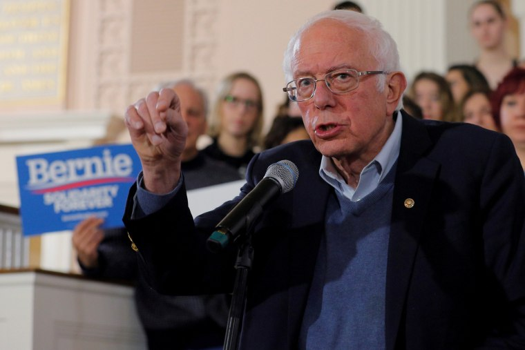 Image: Democratic 2020 U.S. presidential candidate Sanders speaks at a campaign town hall meeting in Portsmouth